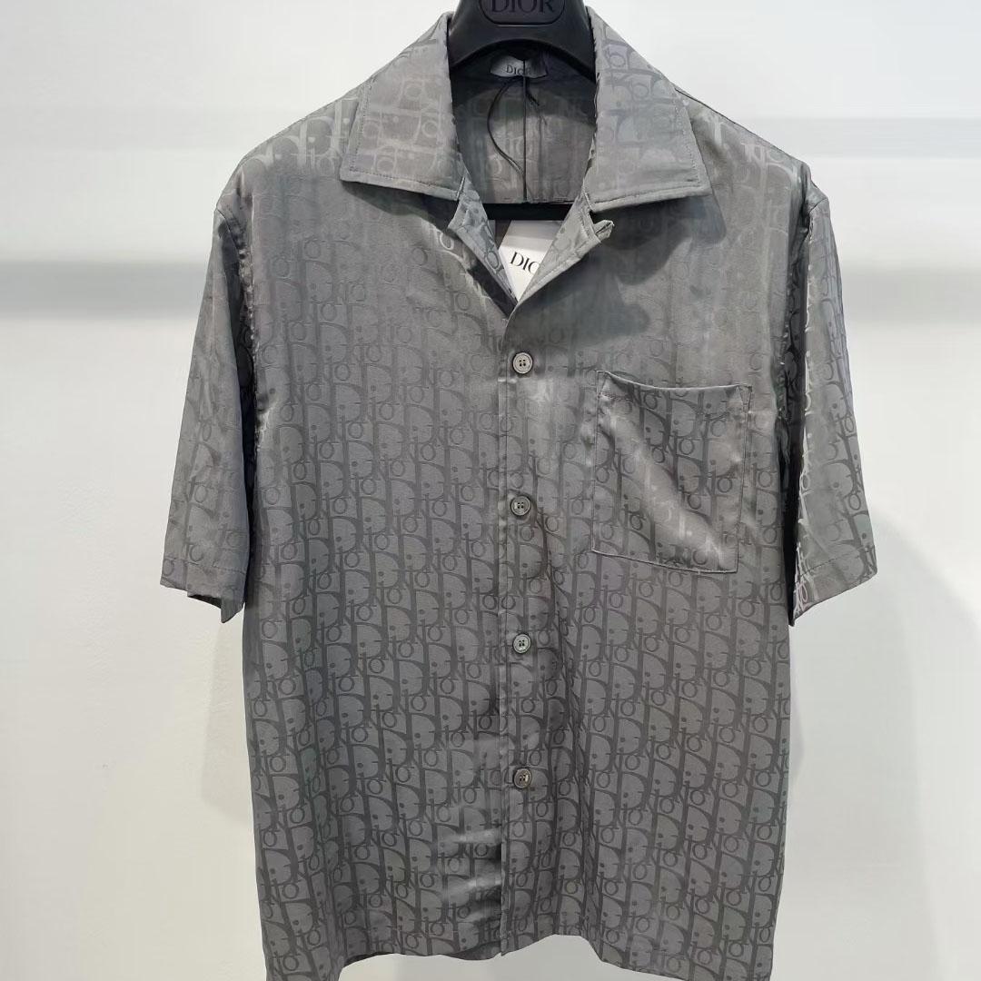 디올 그레이 오블리크 포켓 하프 슬리브 셔츠 - 레플월드