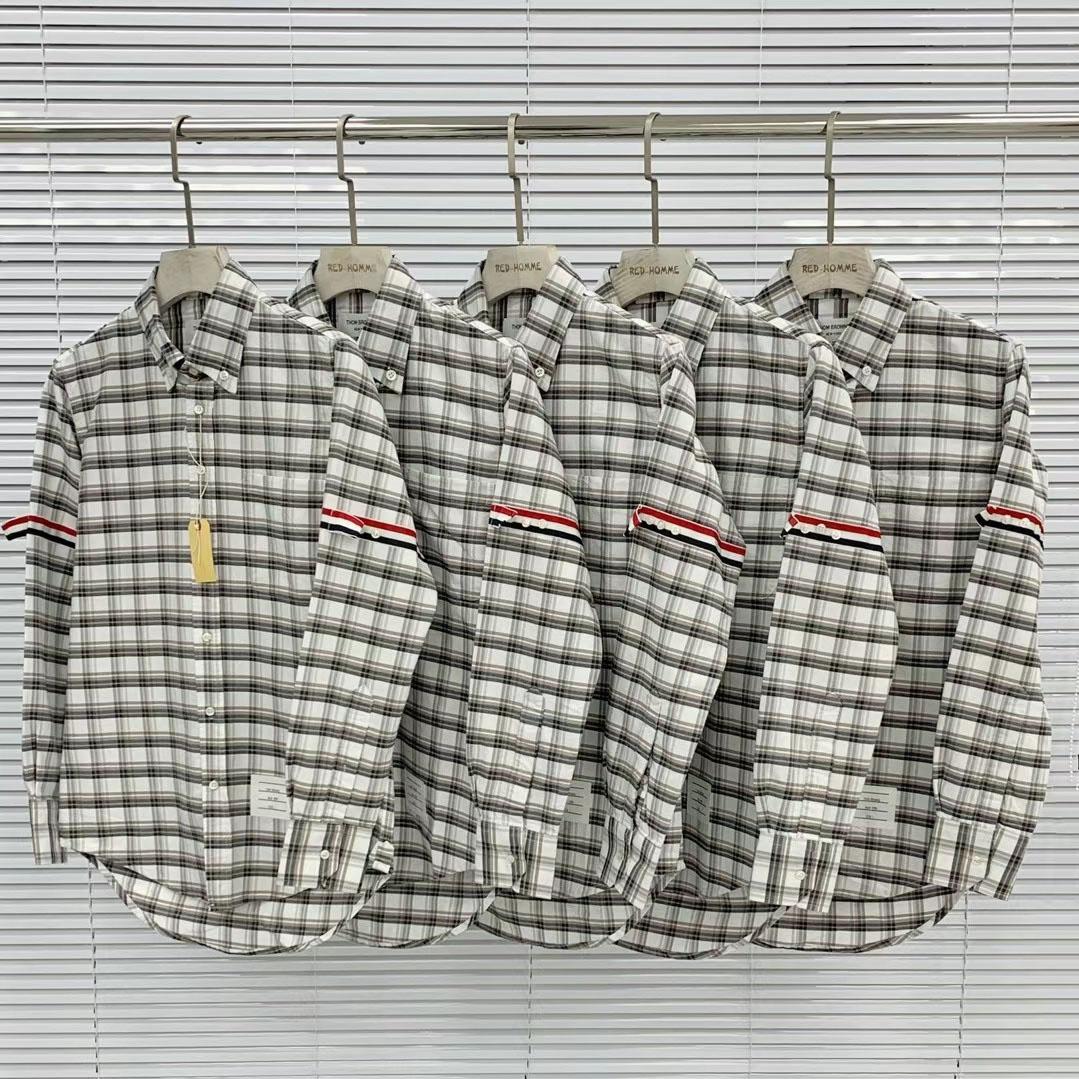 톰브라운 그레이 체크 패턴 테이프 셔츠 - 레플월드