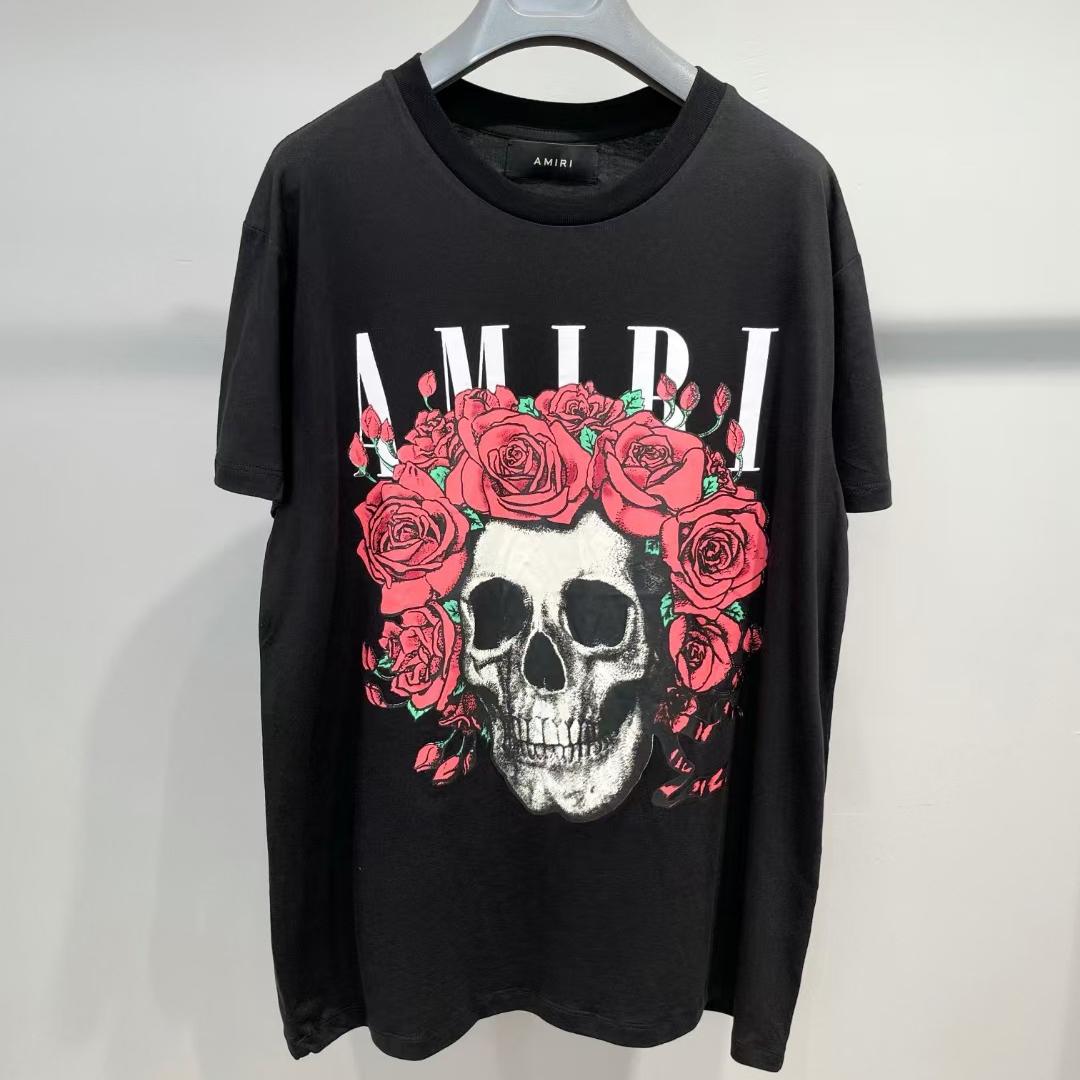아미리 로즈스컬 로고 반팔 티셔츠 - 레플월드