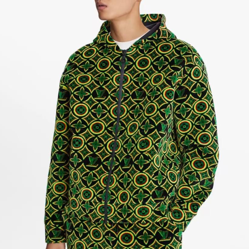 루이비통 그린 모노그램 패턴 후드 집업 자켓 - 레플킹