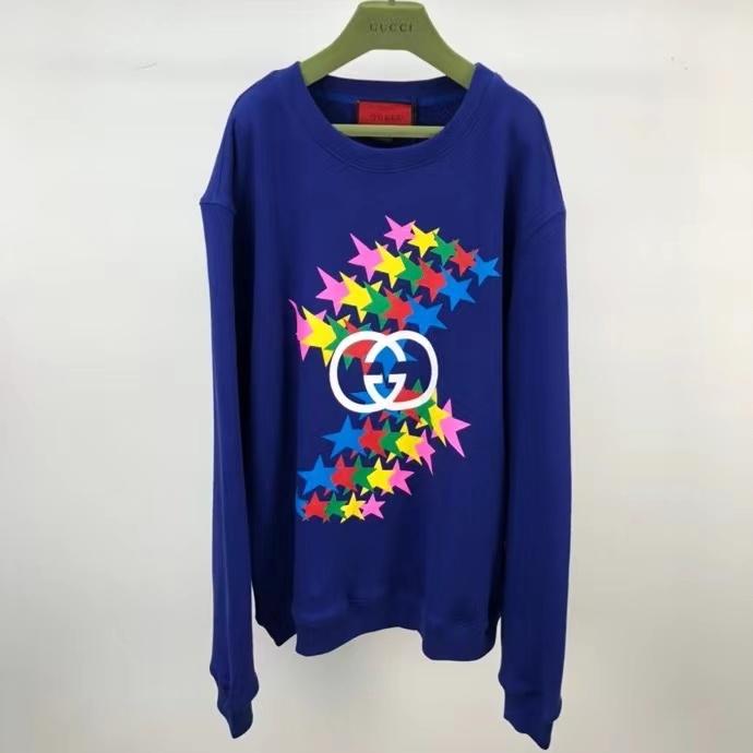 구찌 인터로킹 스타 프린팅 블루 맨투맨 티셔츠 - Repleking
