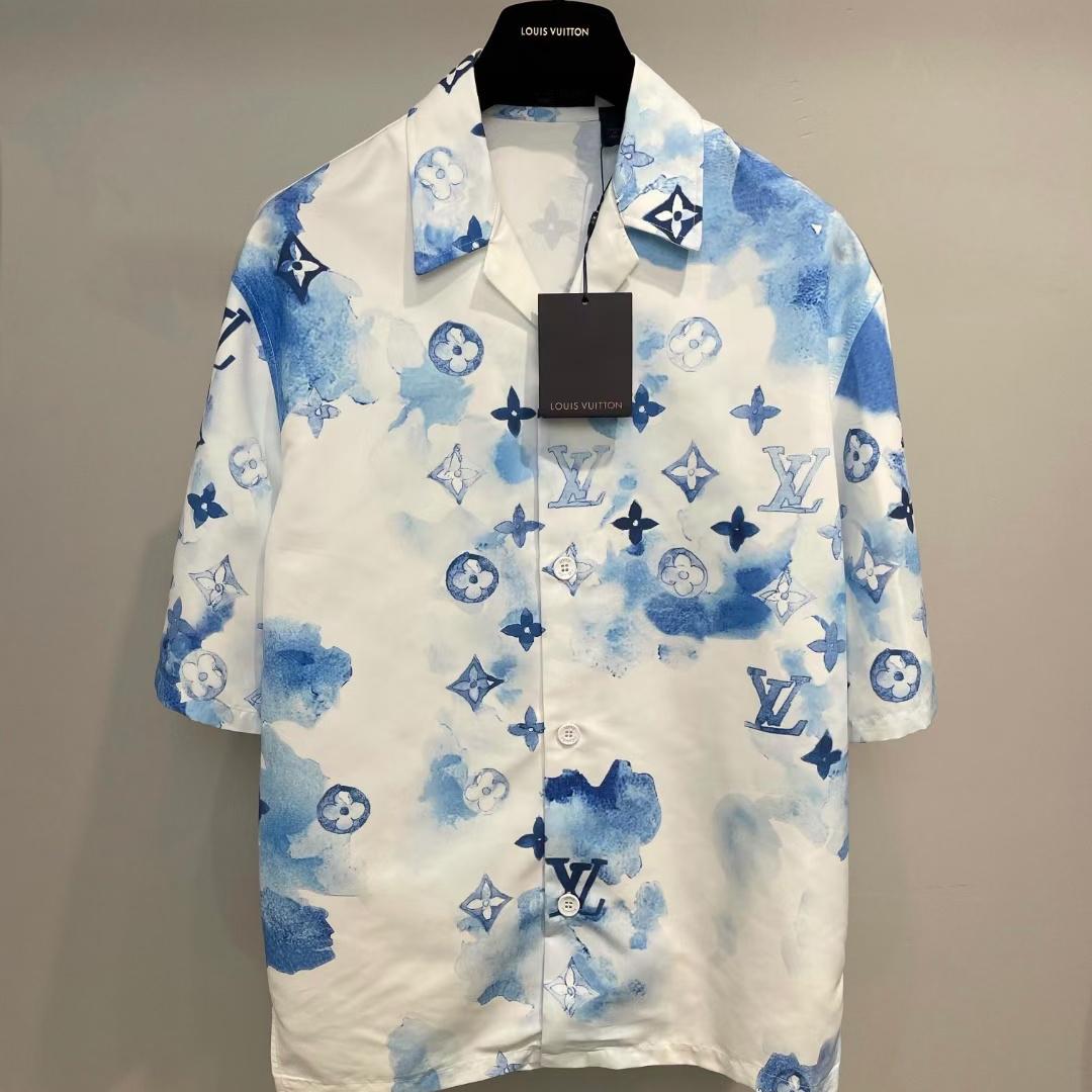 루이비통 블루 워터컬러 모노그램 반팔 셔츠 - Repleking