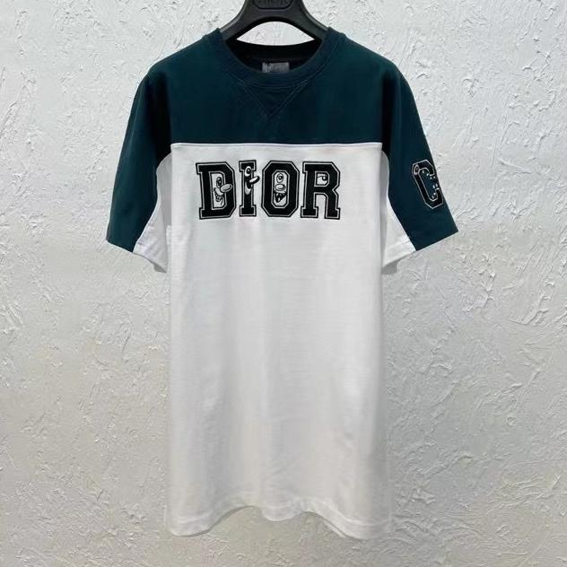 디올  조커 로고 베색 반팔 티셔츠 그린 컬러 - 레플킹