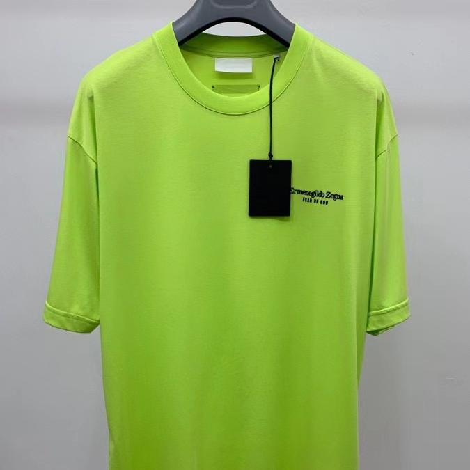 제냐 x 피어오브갓  로고 프린팅 네온컬러 반팔 티셔츠 - 레플킹