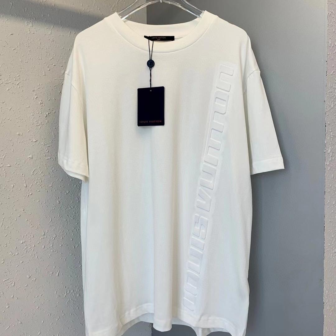 루이비통 로고 엠보 반팔 티셔츠 - 레플킹