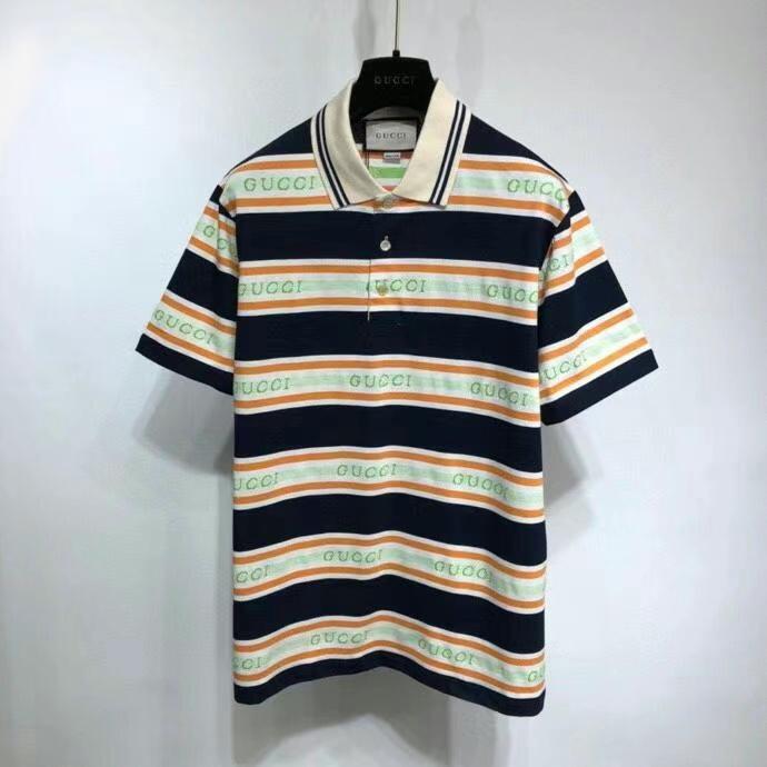 구찌 로고 스트라이프 폴로 티셔츠 - 레플킹