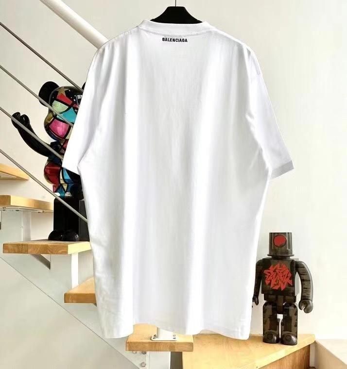 발렌시아가 백 넥라인 로고 화이트 반팔 티셔츠 - 레플킹