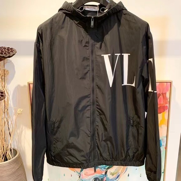 발렌티노 사이드 VLTN 로고 프린팅 후드 자켓 - 레플킹