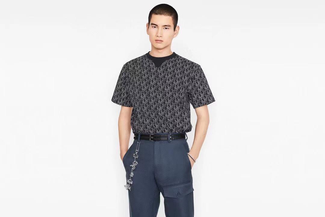 디올 도트 오블리크 패턴 반팔 티셔츠 - 레플킹
